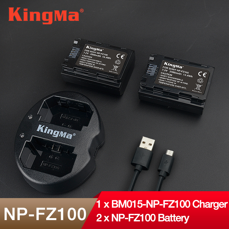 KingMa np fz100 battery NP-FZ100 2 pcs battery 1PCS dual charger NPFZ100 for SONY ILCE-9 A7m3 a7r3 A9 7RM3 micro single camera
