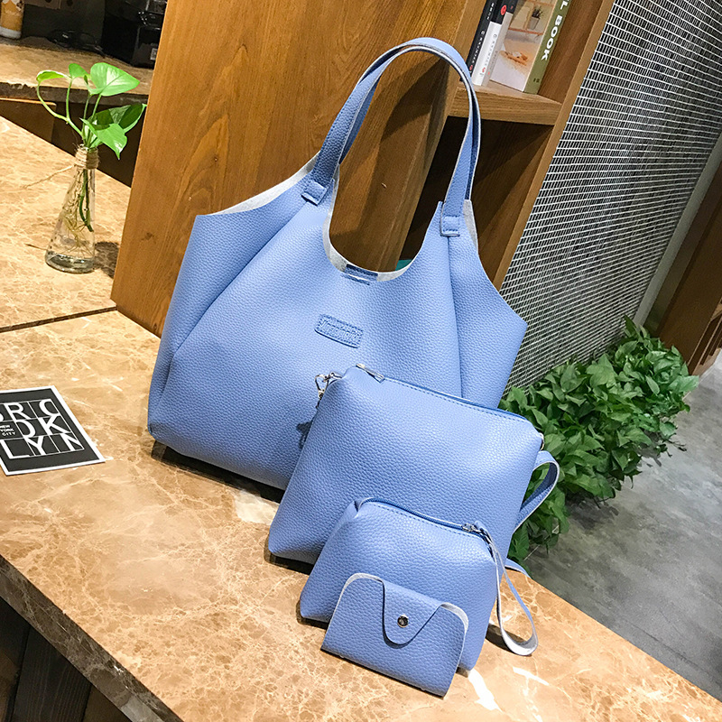 Women 39 s 2019 New PU Single Shoulder Four piece Portable Women 39 s Fashionable Large Capacity Tote bag in Shoulder Bags from Luggage amp Bags