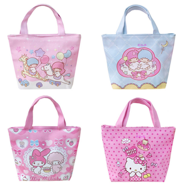 254fe675f9 Cute Cartoon Hello Kitty My Melody Little Twin Stars PU Leather Tote Bag  Small Handbag Lunch Bag Girls Women Shopping Bag Zipper
