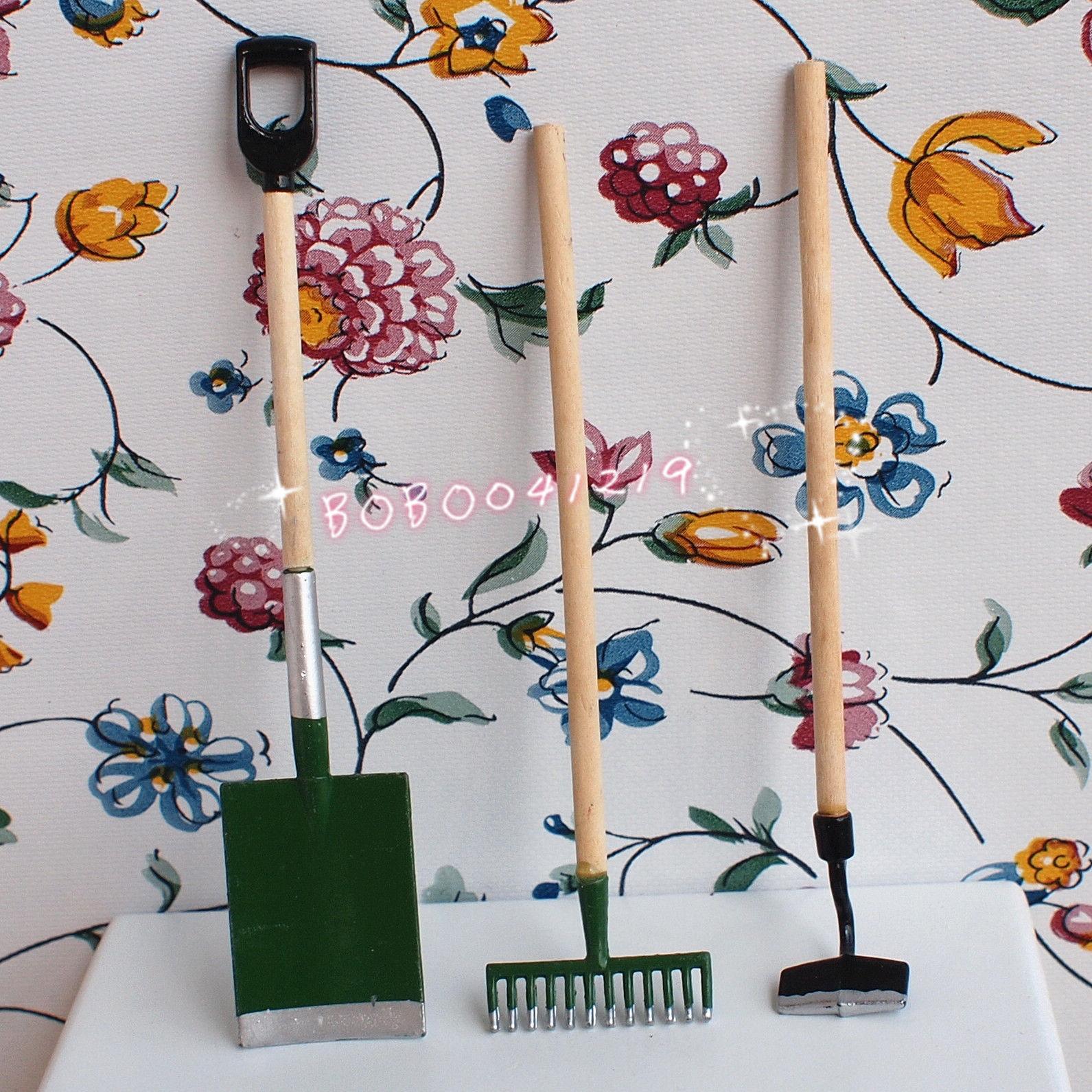 Dollhouse Miniature 1:12 Toy Metal Blue 3 Pieces Garden Tools Length 10cm J3