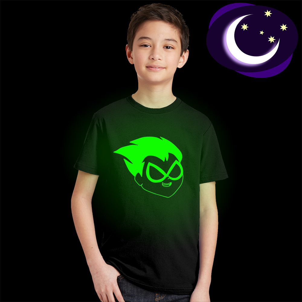 Luminous Teen Titans Children T-shirt Boy Summer Black T Shirt Kids Glow In Dark Girl Top Tees Cartoon Clothes for Baby Toddlers fashionable water resistant glow in dark wrist watch black white 1 x lr626