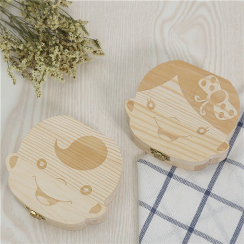 New Russian/French Kids Wooden Tooth Box Babies Tooth Organizer For Kid Deciduous Storage Box Creative Gift Child Milk Teeth Box