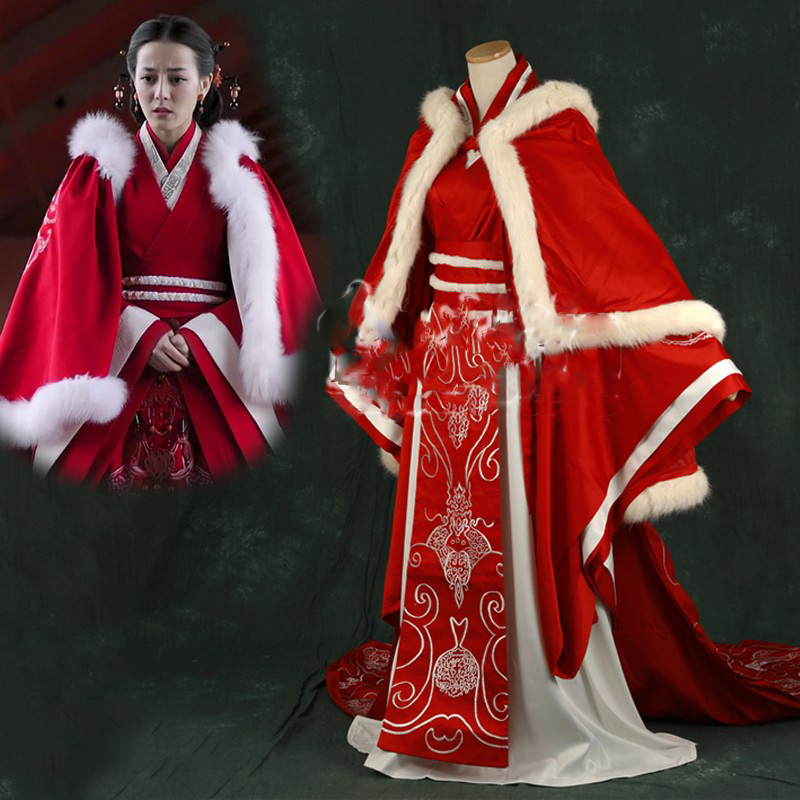 Dilireba Embroidery Red Wedding Costume Hanfu Empress Hanfu Of Qin Dynasty For TV Play The King's Woman Legend Of Princess Li