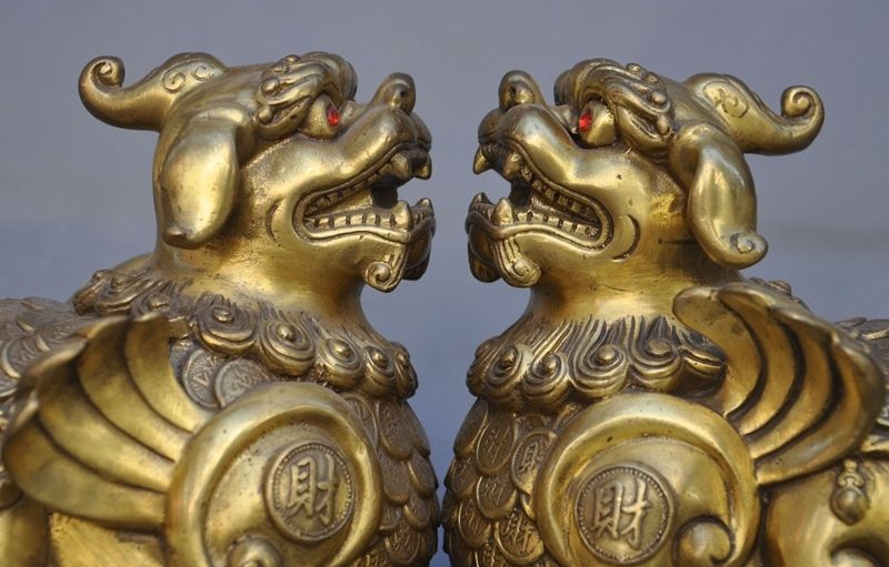 Chinese Fengshui Brass Wealth Money Coins Pixiu brave troops lucky Statue Pair