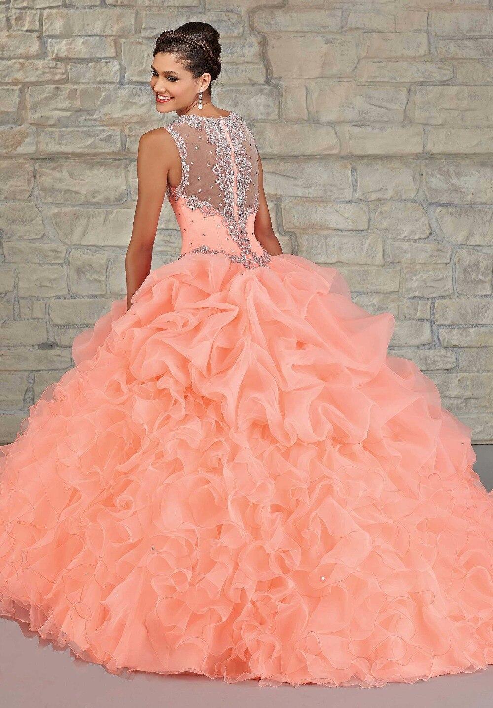 Peach Color Quinceanera Dress Ball Gown 2015 Ruffles Organza ...