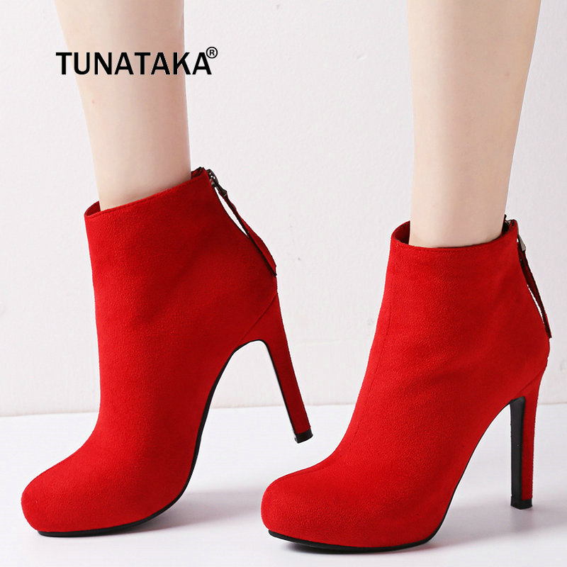 Faux Suede Winter Platform Thin High Heel Ankle Boots Fashion Zip Round Toe Shoes Woman Black Red Apricot faux suede platform buckle strap sexy thin high heel pumps fashion round toe party shoes women red black