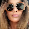 Geometric Cropped Edge Women Gradient Lenses XL Size Sunglasses Designer European Style 97253 Oculos De Sol Retro Coating