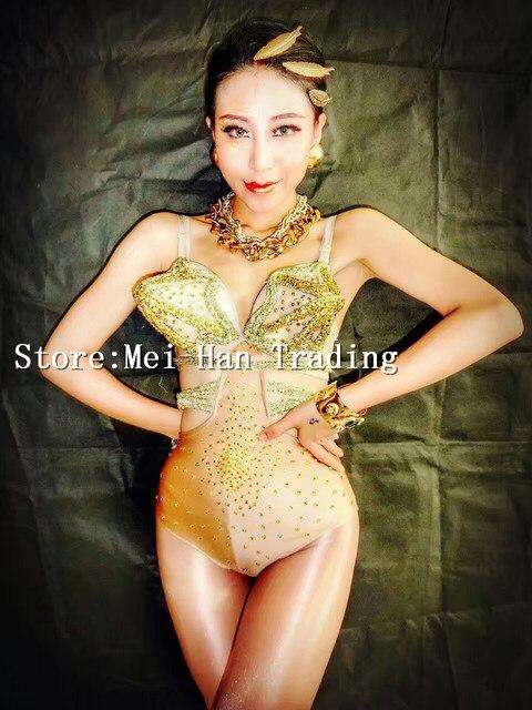e3374d2b25 Cosplay Sexy Gold Sharp Bra Bodysuit Rhinestones Outfit Women s Bar Dancer  Costume Stage Show One Piece