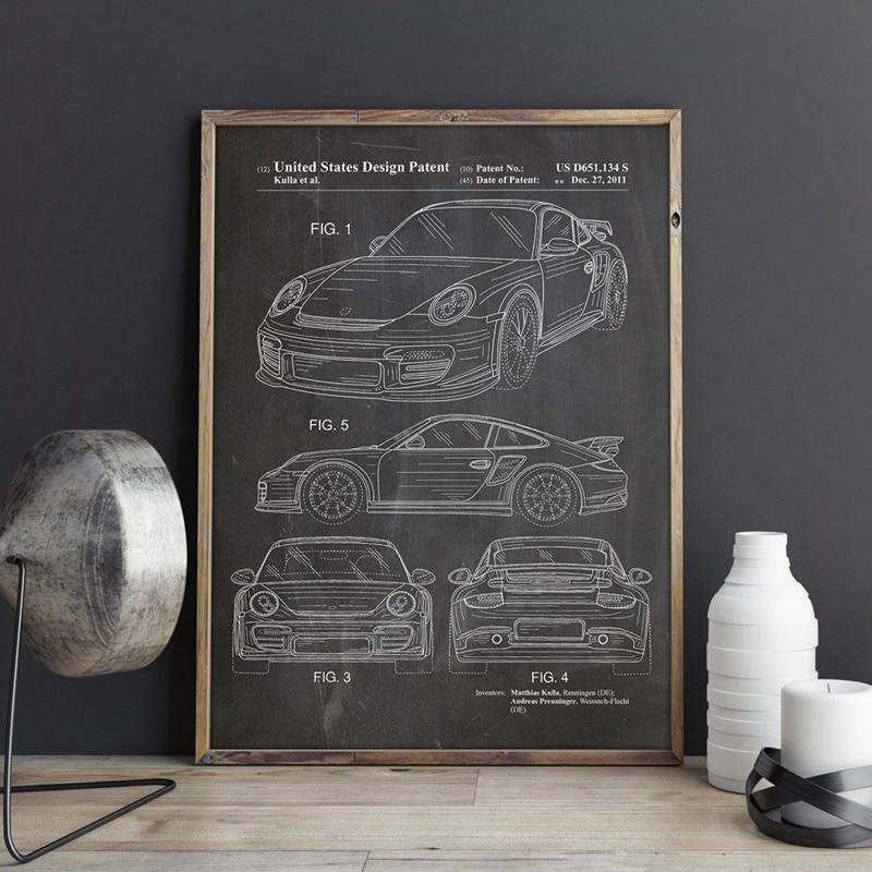 Car Patent For Porsches Artwork Prints Sports Car Canvas Wall Art Poster Room Decor Blueprint Art Painting Picture Gift Idea