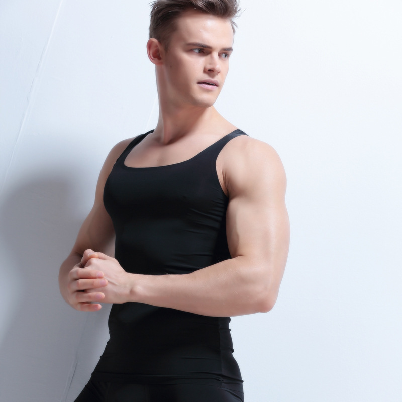 New Mens Seamless Vest Mens Sleeveless T-Shirt Slim Shirt Wide Shoulder undershirt men s ...