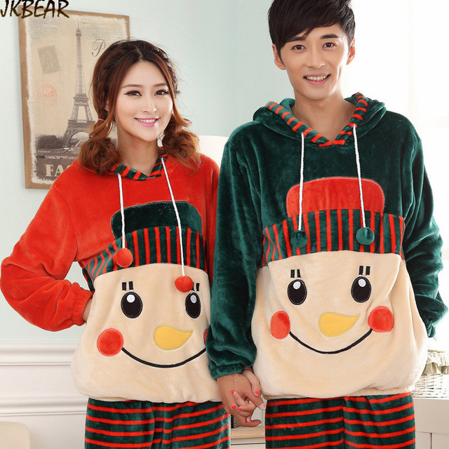 a1d0ee20f0 Cute Hooded Matching Christmas PJS for Couples Thicken Snowman Patterned  Flannel Pajamas M-XXL