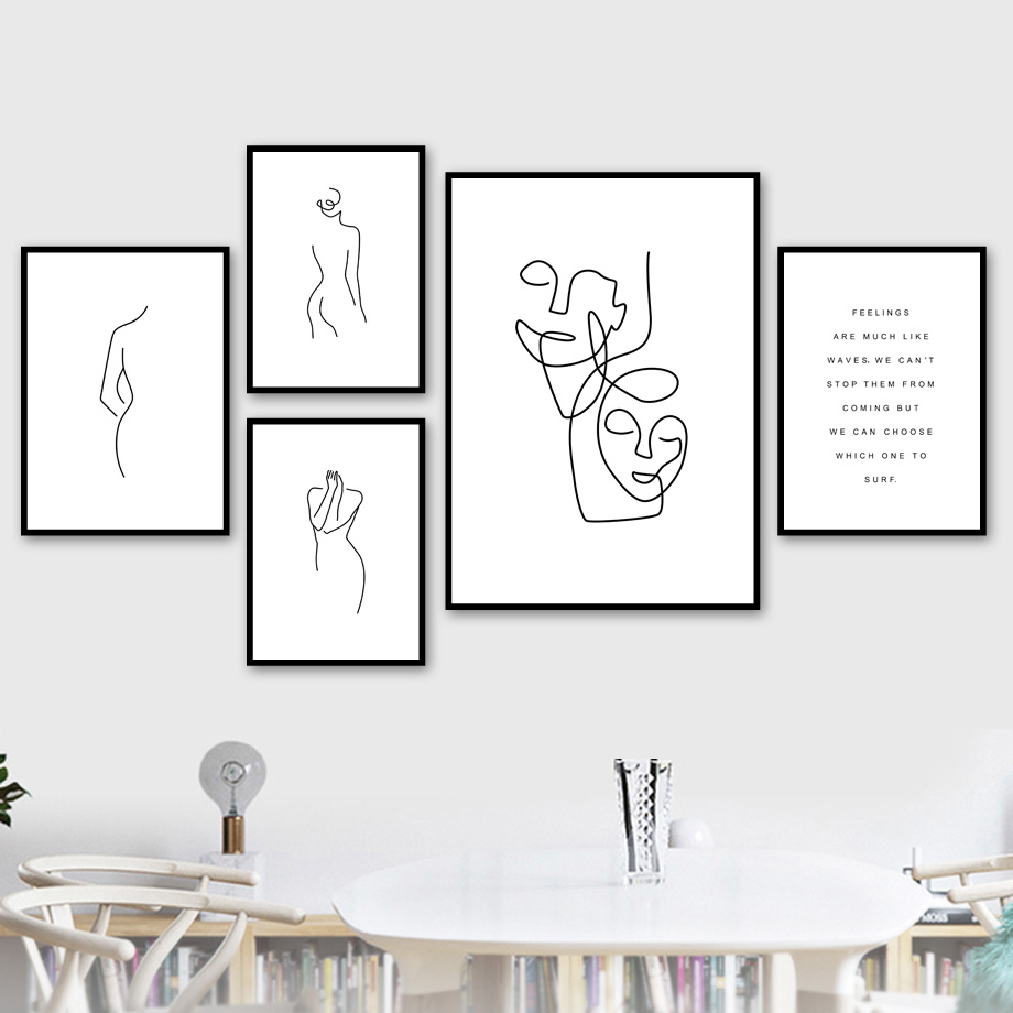 Abstract Line Drawing Girl Wall Art Canvas Painting Nordic Posters And Prints Black White Wall Pictures For Living Room Decor in Painting Calligraphy from Home Garden