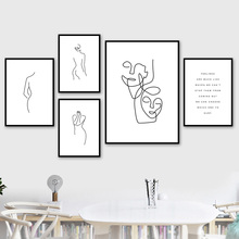 Abstract Line Drawing Girl Wall Art Canvas Painting Nordic Posters And Prints Black White Pictures For Living Room Decor