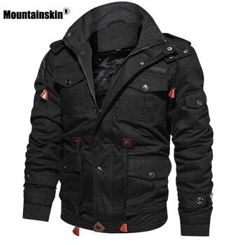 جواكت شتوية من الصوف للرجال من Mountainskin معطف بقلنسوة حراري سميك ملابس خارجية للرجال جاكيت عسكري ملابس رجالي ماركة SA600
