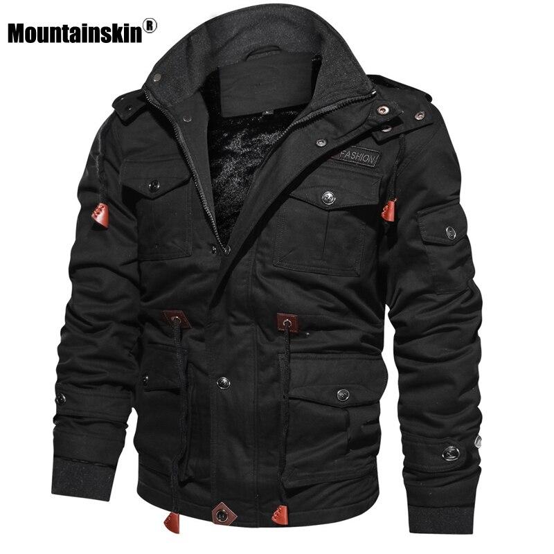 Chaqueta de lana de invierno para hombre de piel de montaña Abrigo con capucha abrigo térmico gruesa chaqueta militar masculina ropa de marca para hombre SA600