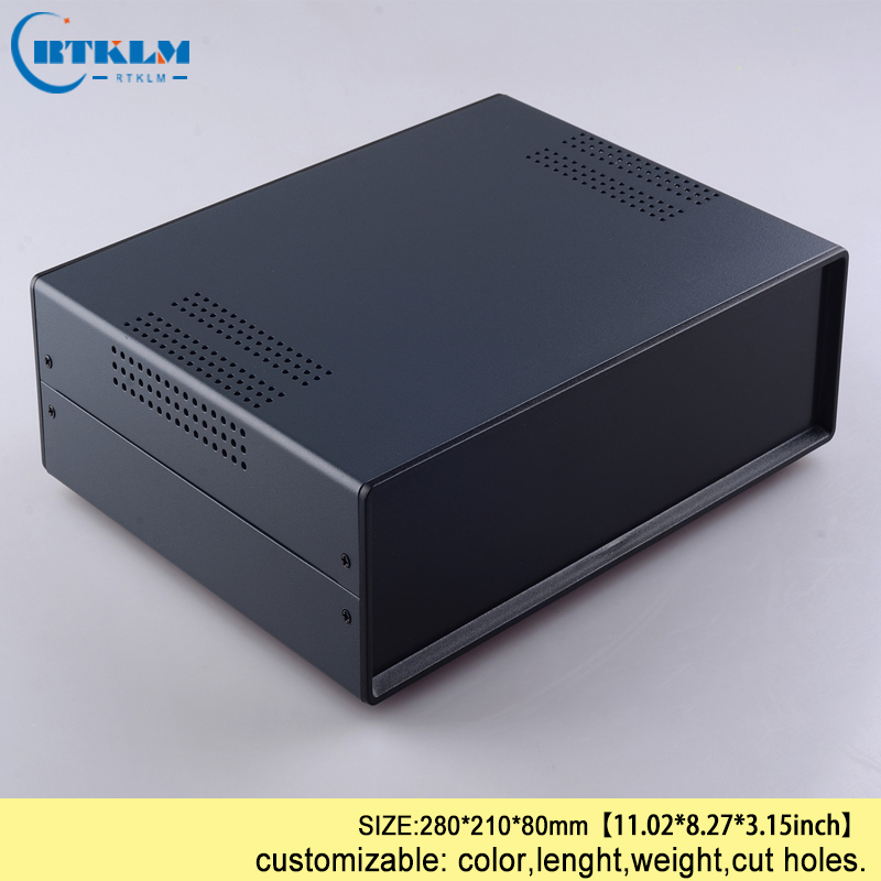 Iron junction box custom desktop enclosure Iron electronic project box housding pcb diy design instrument case 280*210*80mm