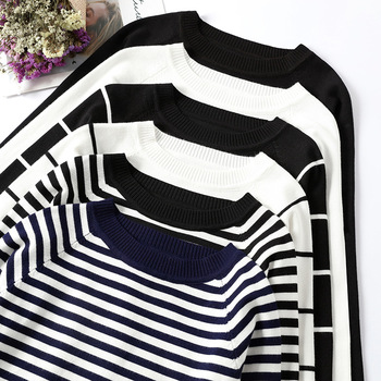 2019 Autumn Winter Long Sleeve Striped Pullover Women Sweater Knitted Sweaters O-Neck Tops Korean Pull Femme Jumper Female White 1