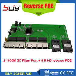 POE Reverse switch board fiber media converter with 2SC + 8 10/100/1000Mbps RJ45 Ethernet ports POE reverso fiber optical switch
