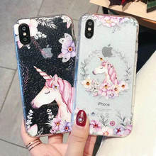 Color Horse Unicorn For Iphone 6 6s 7 8P X Xs Xr Max Fashion Transparent Point Diamond Flower Phone Case