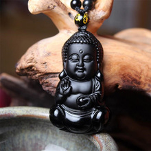 Natural Black Obsidian Carved Baby Buddha Pendant With Amulet Lucky Beads Chain Female Male Pendant Necklace Popular Jewelry obsidian necklace natural stone wolf head pendant buddha guardian ball chain carving amulet with obsidian blessing lucky jewelry