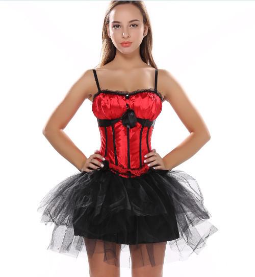 Sexy Satin Lingerie Corset Bustier Mini Skirt Fancy Wedding Dress Costume Body Shaper Plus Size S-2XL