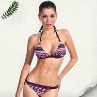 New Sexy Women Triangle Swimsuit Ethnic Pattern Bandage Swimwear Female Low Waist Thongs Brazilian Bikini Set