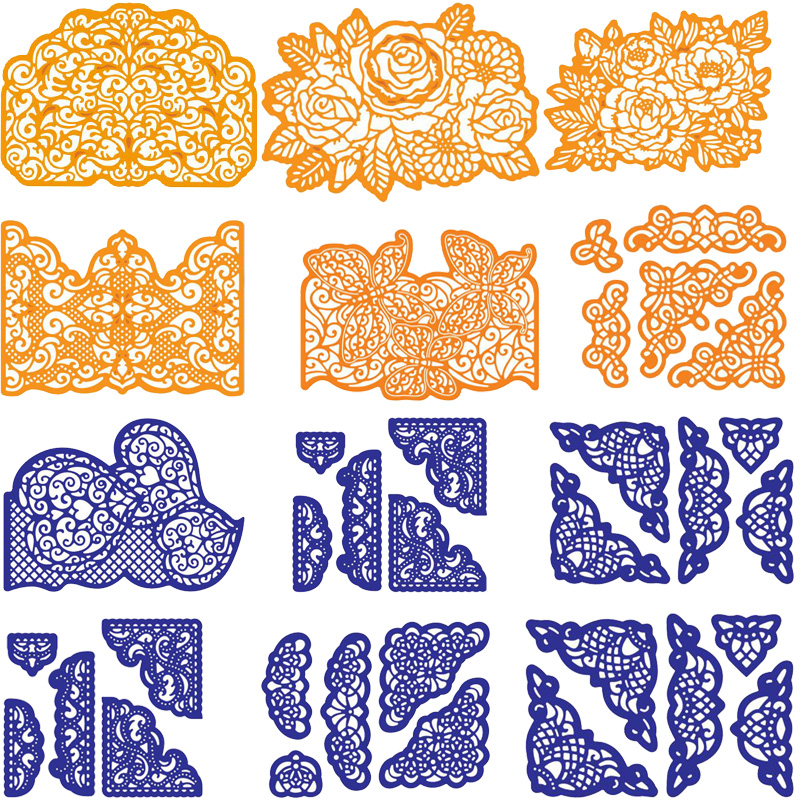 Mixed Lace Edge Border Frame Metal Cutting Dies Stencils For DIY Scrapbooking Decoration Embossing Card Craft Die Cut New 2019