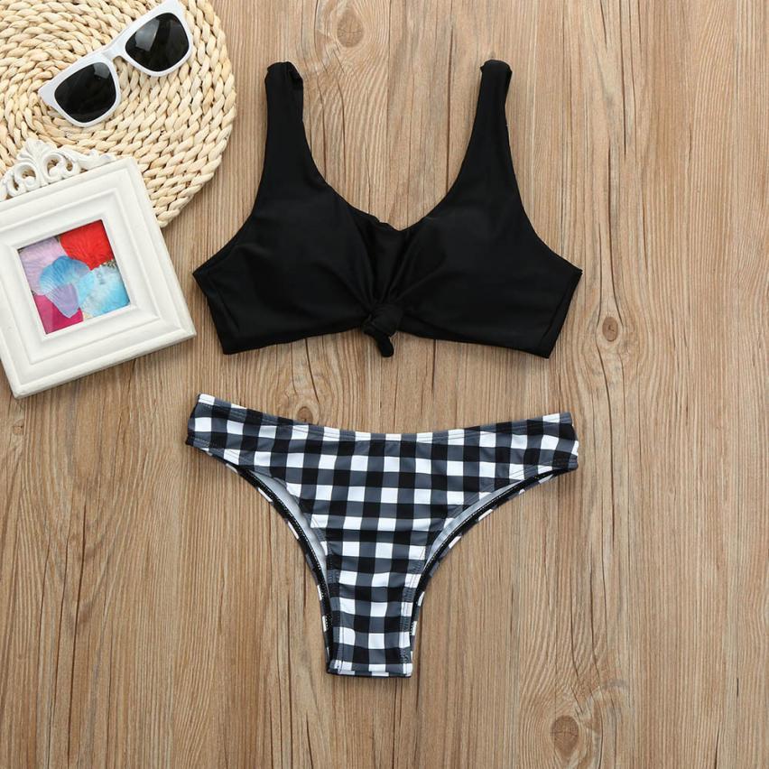 где купить New Arrival Women Push-up Padded Plaid Printed Bra Bikini Set Swimsuit Swimwear Bathing Summer Bikini Women's Swimming Suit дешево