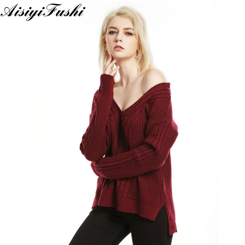 Off Shouler Crop Backless Top Long Sleeve Female Sweater For Women Knitting Women Sweaters And Pullovers Elastic Loose Clothes