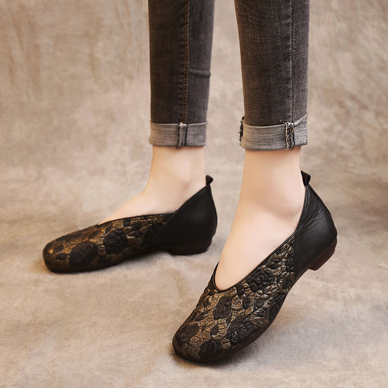 Véritable Femmes Casual Chaussures Peu Drkanol Noir Fleurs Glissement Sur Vache Cuir Plates Appartements Mocassins Profonde Vintage Dames Printemps marron En Oyv8n0wmNP