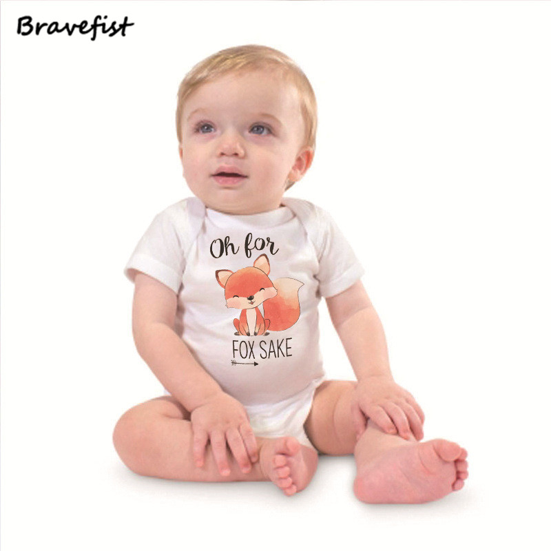 Summer Newborn Boys Girls Bodysuits Oh For Fox Sake Print Children Clothes 0-24Month Lovely Infant Jumpsuits Polyester Outfits