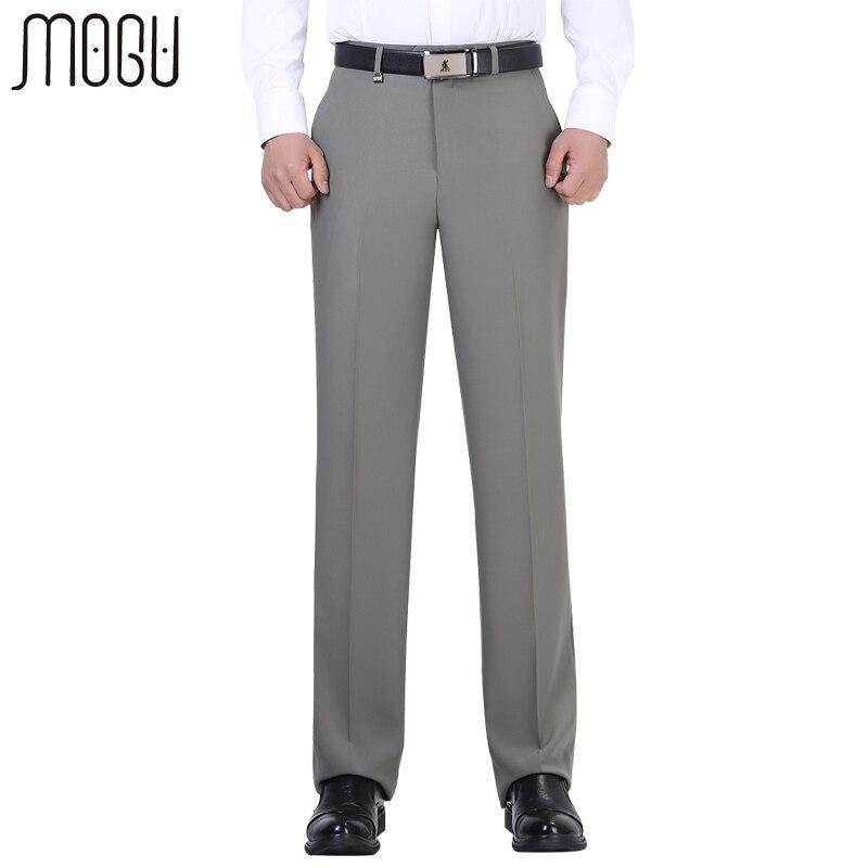 MOGU Pantaloni di Alta Qualità 2017 di Nuovo Modo degli uomini di Colore Puro Vita alta Solid Unhemmed Formale Pantaloni da Uomo Pantaloni di Formato Asiatico uomini