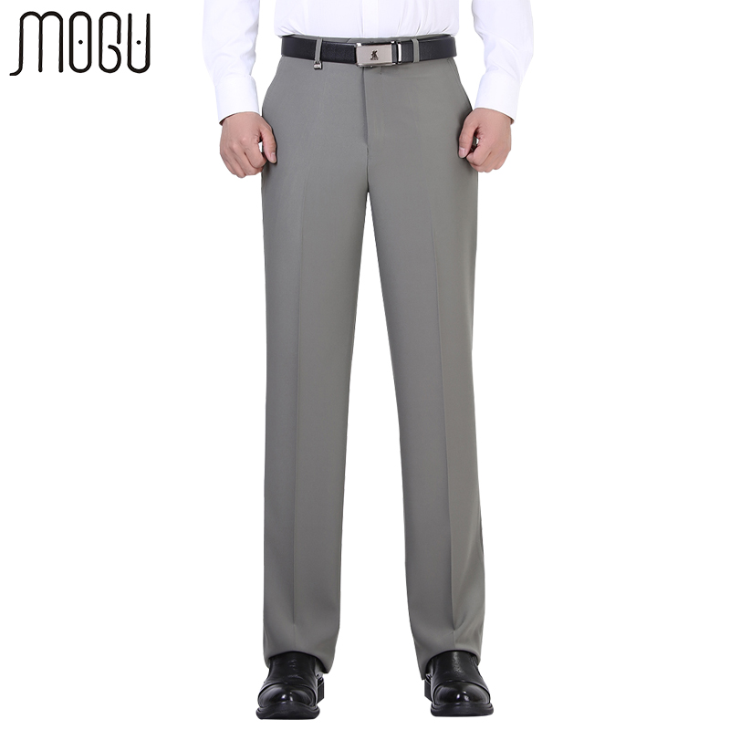 MOGU Pure Color Men's Pants High Quality 2017 New Fashion High Waist Solid Unhemmed Formal Men's Trousers Asian Size Pants Men