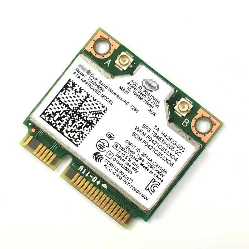 Երկակի band 7260AC 7260HMW 802.11ac անլար AC + Bluetooth BT4.0 անլար wifi Half Mini PCI-E քարտ