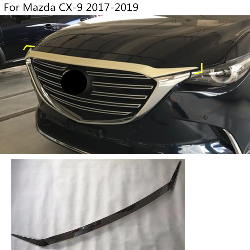 Car cover Bumper engine ABS Chrome trim Front Grid Grill Grille frame edge 1pcs For Mazda CX-9 CX9 2017 2018 2019 car garnish cover abs chrome front engine machine grille grid grill lid trim lamp 1pcs for kia sorento l 2015 2016 2017 2018