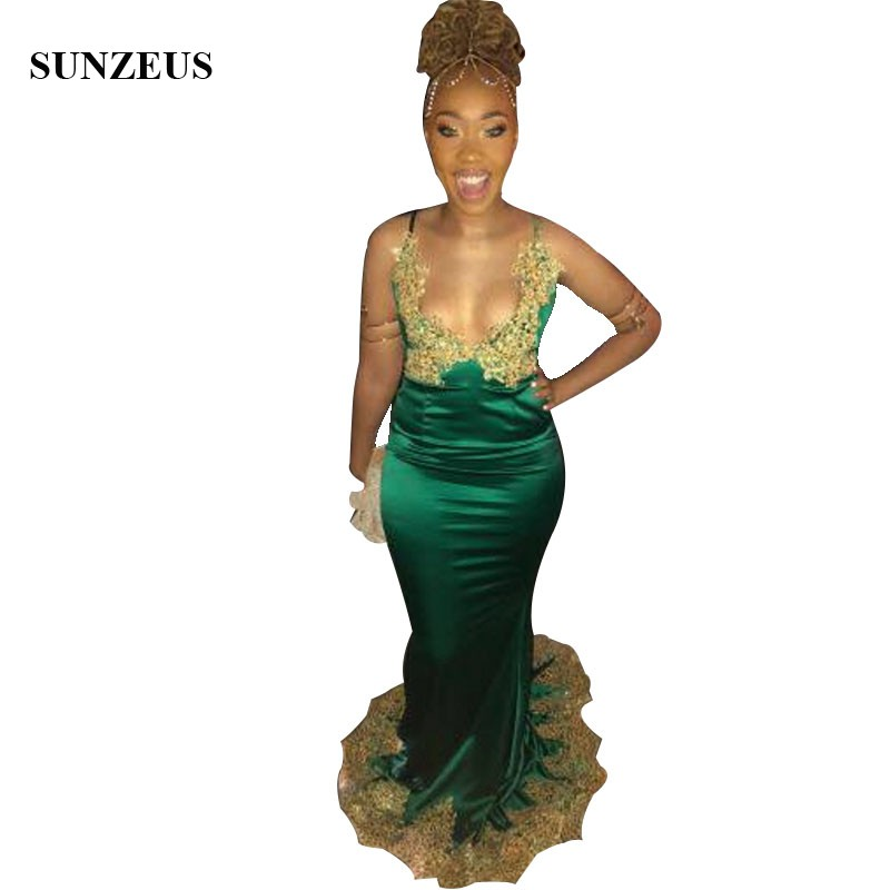 Emerald Green   Prom     Dress   With Gold Appliques Lace Sexy Bust Party Gowns Long Satin Black Girl   Dress   Formal Evening