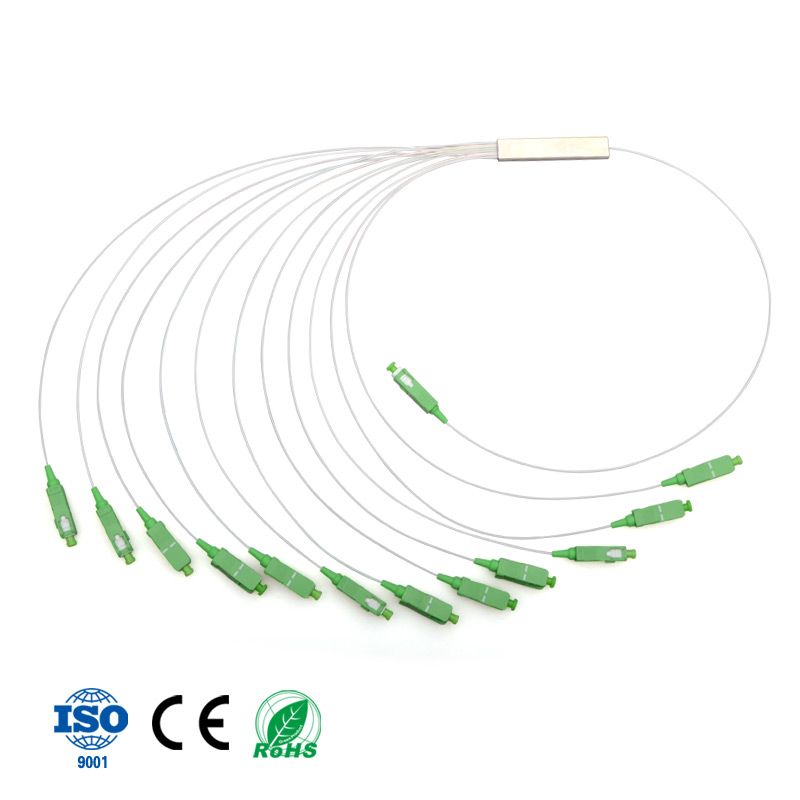 Blockless Type Mini Steel Tube Optical PLC Splitter 1x12 Fiber Optic PLC Splitter with SC APC