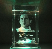 10PCS Lot Customize 5 5 8CM 3D Laser Racing Driver Crystal Paperweight With Round LED Light