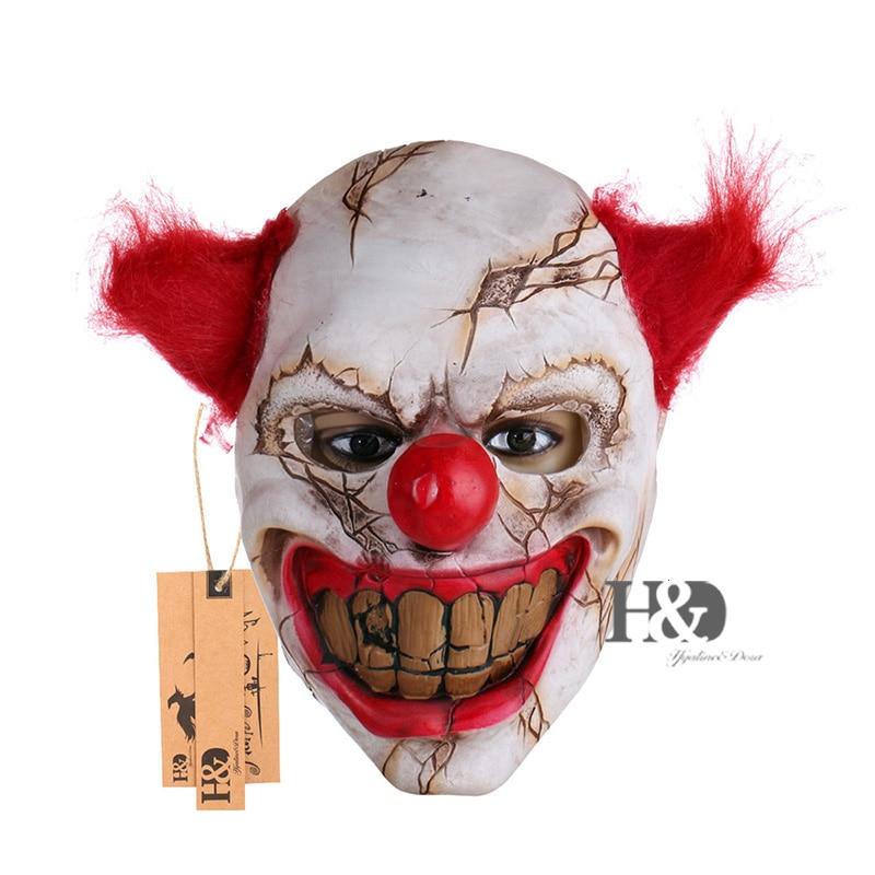 H&D Halloween maszk Ijesztő bohóc Latex teljes arcmaszk Nagy száj Vörös haj orr Cosplay Horror Masquerade maszk Ghost Party