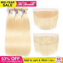 Ali Annabelle Hair Brazilian Straight 3 Bundles With 13*4 Lace Frontal Closure 100% Human Hair Weaving 613 Blonde Remy Hair(China)