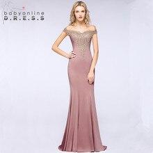 Robe de Soiree סקסי תחרה גבישים ורוד ארוך שמלת ערב 2019 אלגנטי שווי שרוול ערב מסיבת שמלות Vestido דה Festa