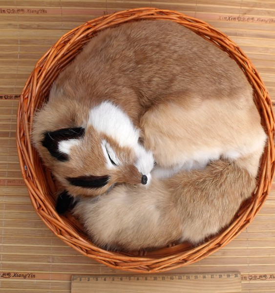 big simulation fox toy polyethylene & furs natural colour sleeping fox in a basket doll gift 27x12cm 2114