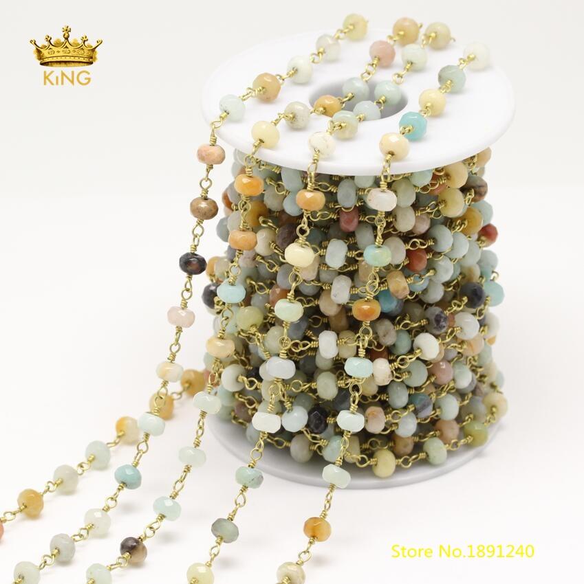 5 mètres 4x6mm facettes Rondelle Amazonite perles chaînes résultats, fil enroulé naturel Amazonite plaqué laiton pierres chaînes ZJ162