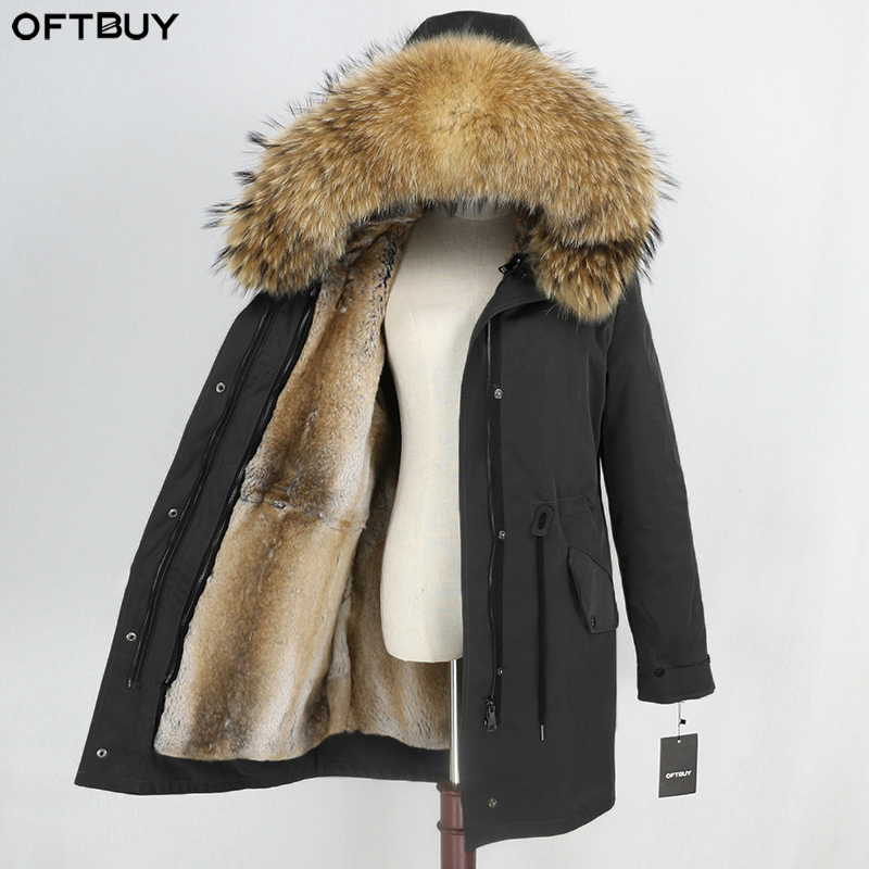 OFTBUY Waterproof Long Parka Real Fur Coat Winter Jacket Women Natural Raccoon Fur Collar Real Rabbit Fur Liner Detachable Warm