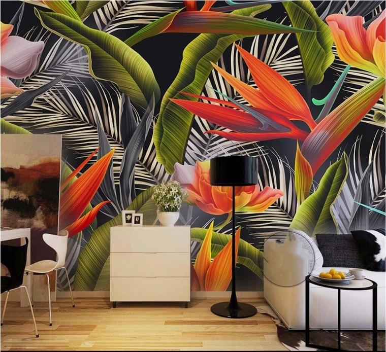 Custom Wallpaper Large Mural Hand Painted Tropical Rain Forest Jianglan Banana Fan Beauty Banana Retro Fashion Background Wall
