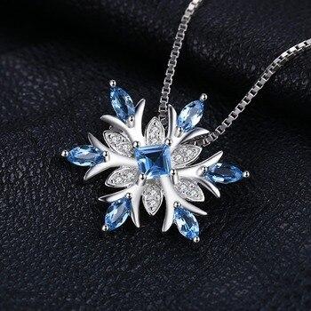 Snowflake Natural Topaz Pendant  Sterling Silver Gemstones Statement Necklace  2