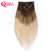 Dreaming Queen Hair Clip In Straight Hair Extensions 100% Brazilian Remy Human Hair 7 Pieces/Set 16 Clips 4/18 Piano Mixed color
