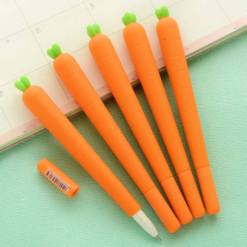 цена на 0.5mm Creative Carrot Gel Pen Cute Kawaii Silica Gel Pen For Kids Novelty Item School Supplies Free Shipping 2443