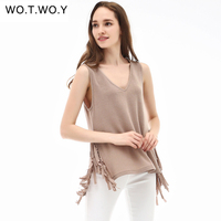 WOYWOY 2017 New Arrival Women Tank Tops Summer V Neck Sleeveless Tassel Cotton Women Casual Tanktop