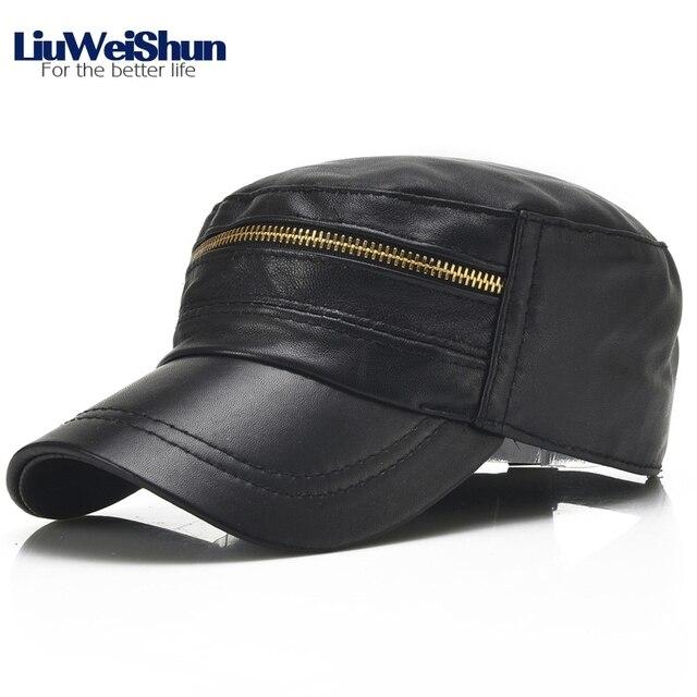 Gorra militar de cuero genuino LIUWEISHUN sombreros de calidad para hombres  piel de oveja Snapback cremallera 16334e7f386